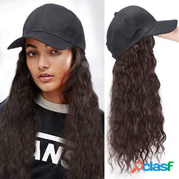Sol grande na moda da onda chapéu encaracolado longo cabelo conexão natural sintética chapéu peruca