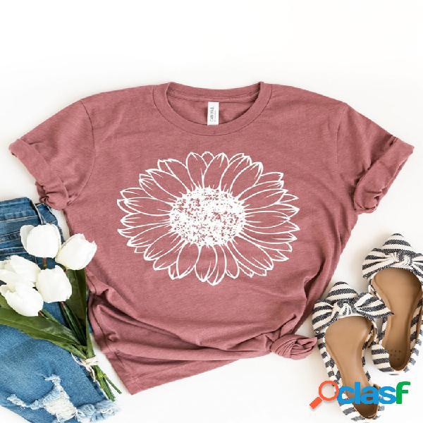 Camiseta feminina de manga curta com estampa de flores e decote em o casual