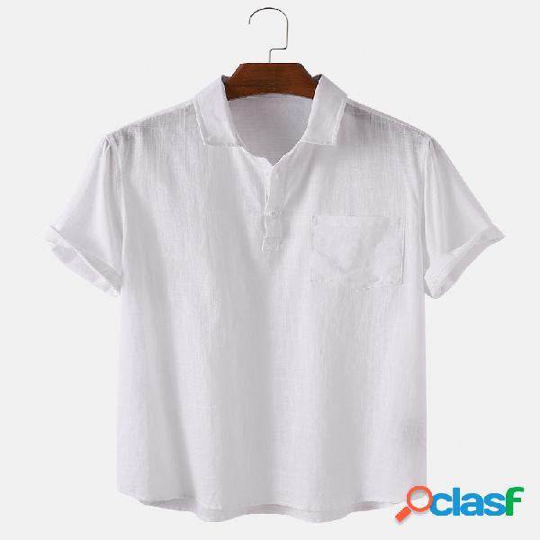Homens 100% algodão sólido cor clara respirável casual henley camisa