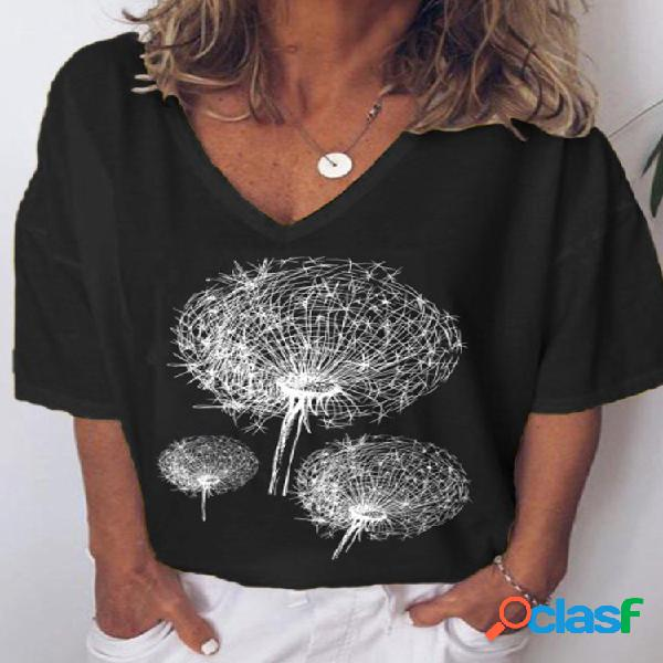 Camiseta feminina de manga curta estampada com decote em v