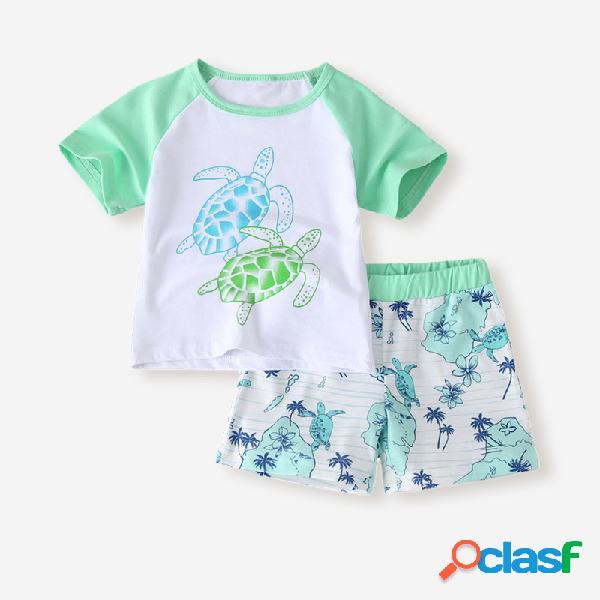 Conjunto de roupas casuais de mangas curtas de impressão de tartaruga para menino de 2 a 8 anos