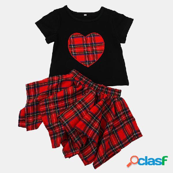Conjunto de roupas casuais de mangas curtas de impressão xadrez de menina para 1-7a