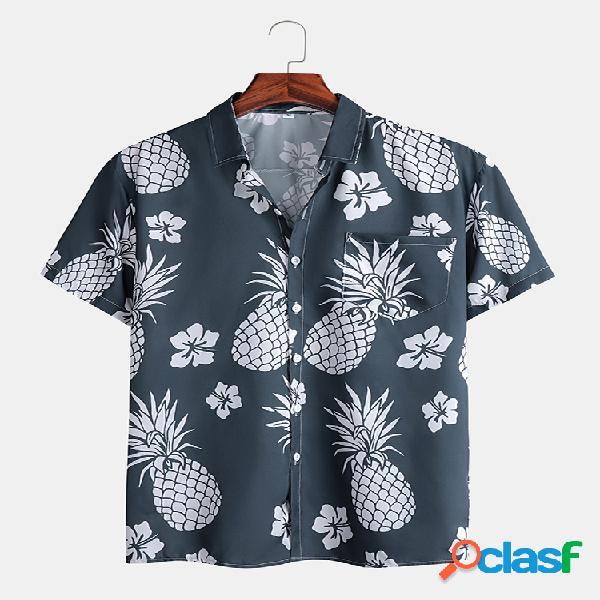 Mens abacaxi tropical impresso manga curta férias de verão camisa