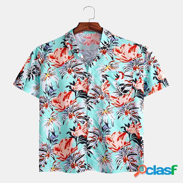 Mens floral & folha impresso casual holiday camisas de manga curta