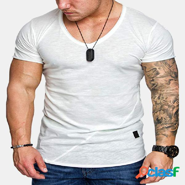 Mens liso respirável cor sólida manga curta t-shirt