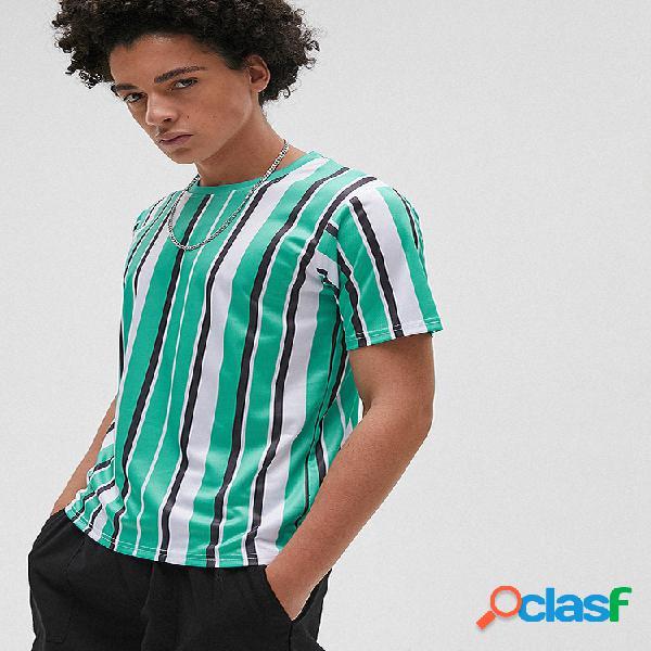 Mens listrado impressão o-pescoço manga curta casual verão camisetas
