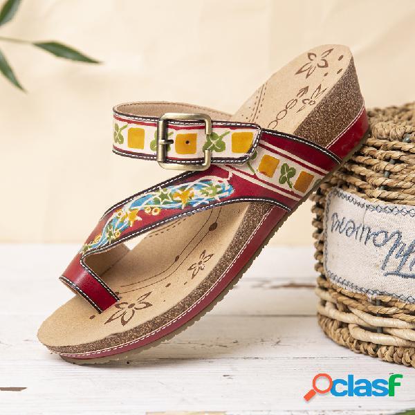 Socofy fivela de couro bohemia gancho alça de dedo anelar toe deslizamento em cunha thongs sandálias chinelos