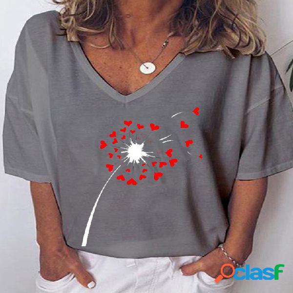 Camiseta feminina de manga curta com estampa de flores com corações