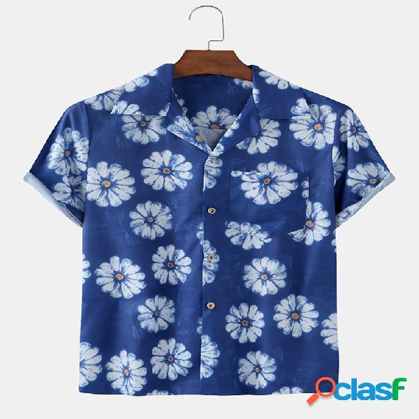 Casuais de férias havaianas com estampa floral masculina camisa