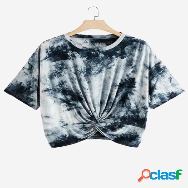 Tie-dye print irregular manga curta o-pescoço casual t-shirt para as mulheres