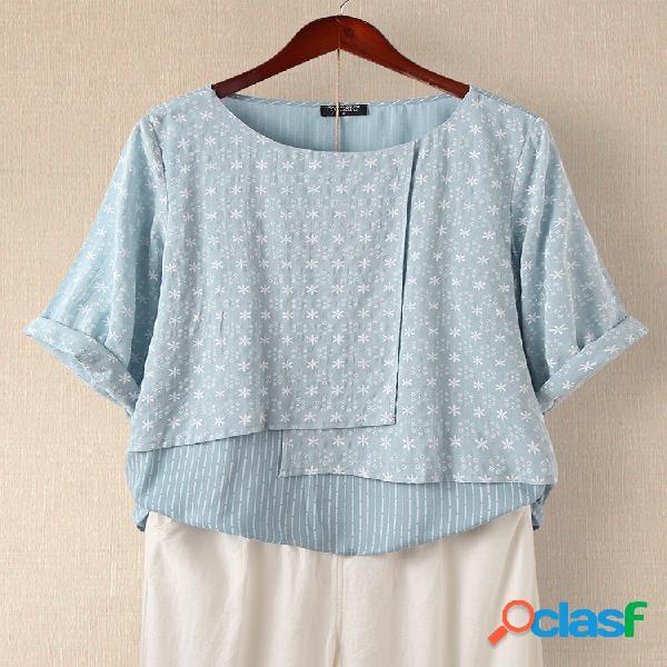 Blusa de patchwork listrado com estampa floral e meia manga com decote em o
