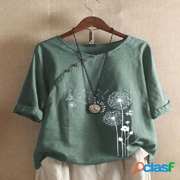 Camiseta de manga curta com estampa floral e decote em o