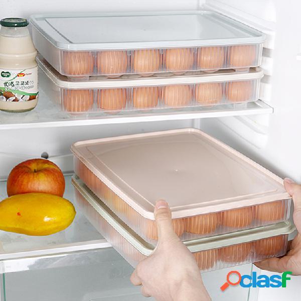 Caixas organizadoras de geladeira 24 grades, cozinha, armazenamento portátil de piquenique caixa bandeja de plástico caixa