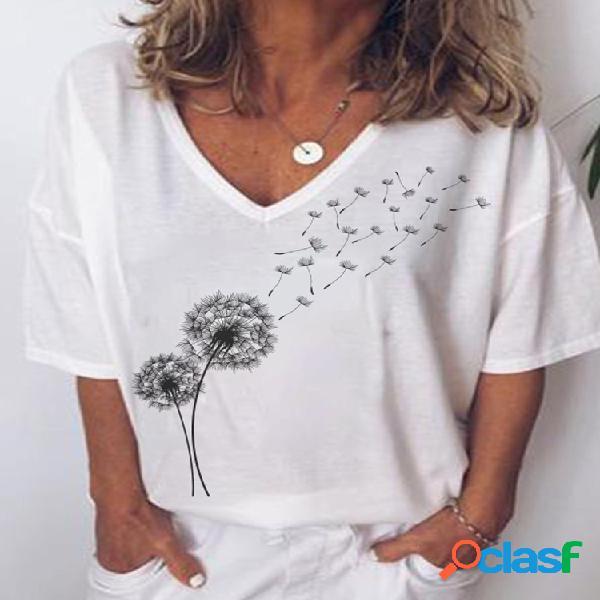 Camiseta de manga curta com estampa floral de manga curta para mulheres