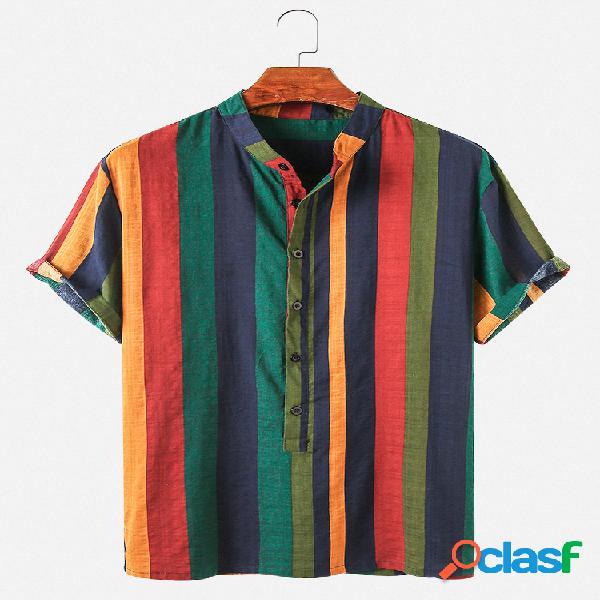 Camiseta masculina listrada estampa casual respirável manga curta henley