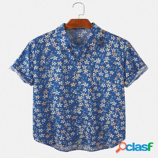 Mens daisy floral print light camisas de grife de manga curta