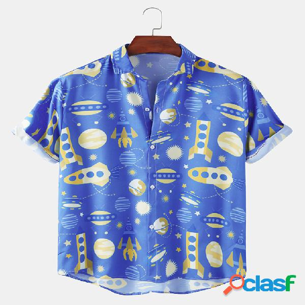 Mens funny cartoon space print respirável camisas de verão de manga curta