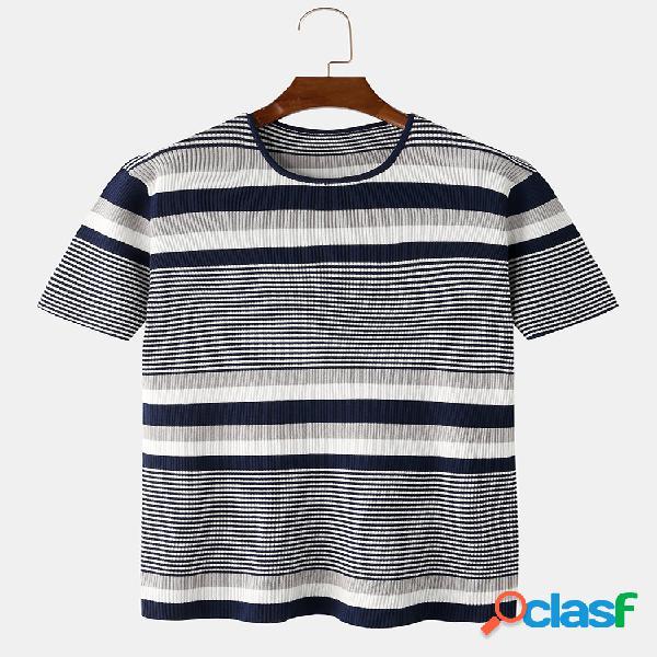 Mens listrado impressão em torno do pescoço de manga curta verão camisas leves