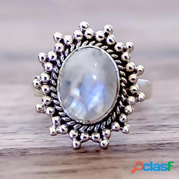 Anel de dedo oval de paralelepípedos de anel de metal oval geométrico natural do vintage