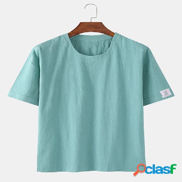 T-shirt casual masculina de linho de algodão 8 cores maciço redondo pescoço solto manga curta