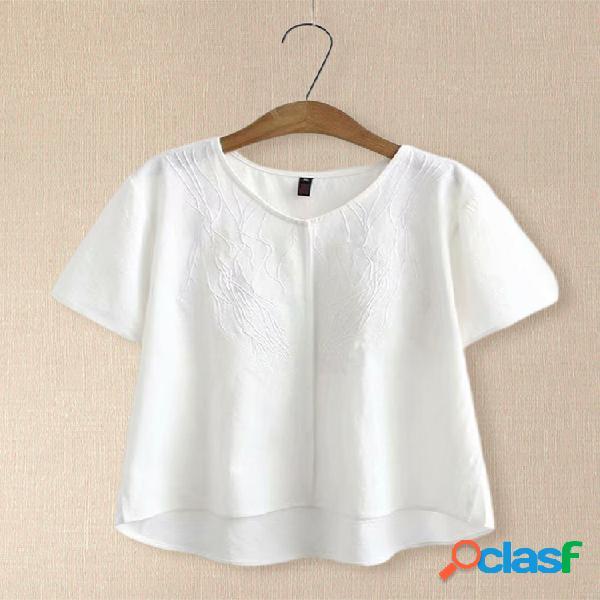 T-shirt de manga curta bordado irregular para mulheres