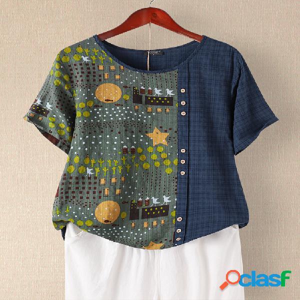 T-shirt de manga curta com decote em o com estampa de patchwork xadrez