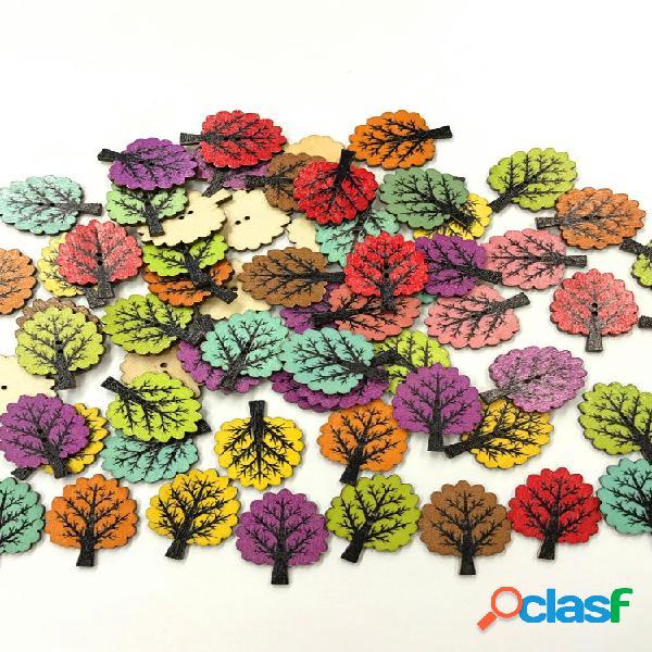 50/100 pcs de madeira botões botão redondo de resina artesanato de costura botões para costura artesanato de tricô
