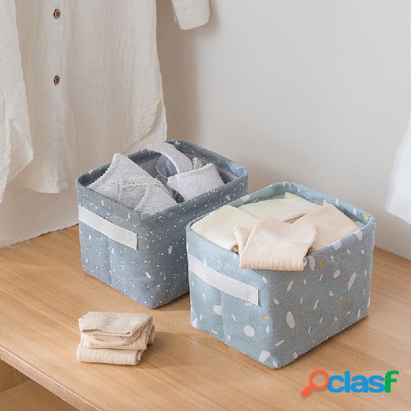 Armazenamento impresso caixa cesta de armazenamento de linho de algodão diversos artigos de mesa brinquedo caixa banheiro armazenamento de cosméticos caixa