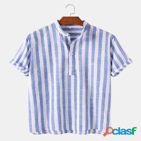 Camisas masculinas com estampa listrada respirável manga curta verão henley