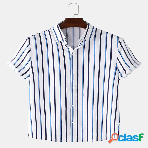 Mens basic vertical stripes print respirável casual verão camisas de manga curta