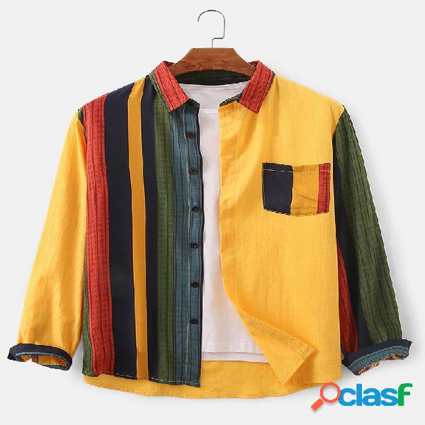 Mens design patchwork listrado 100% algodão respirável manga longa camisa