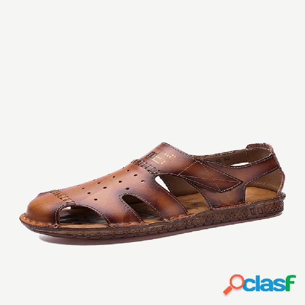 Sandálias de couro masculino com dedo do pé fechado de vaca gancho loop