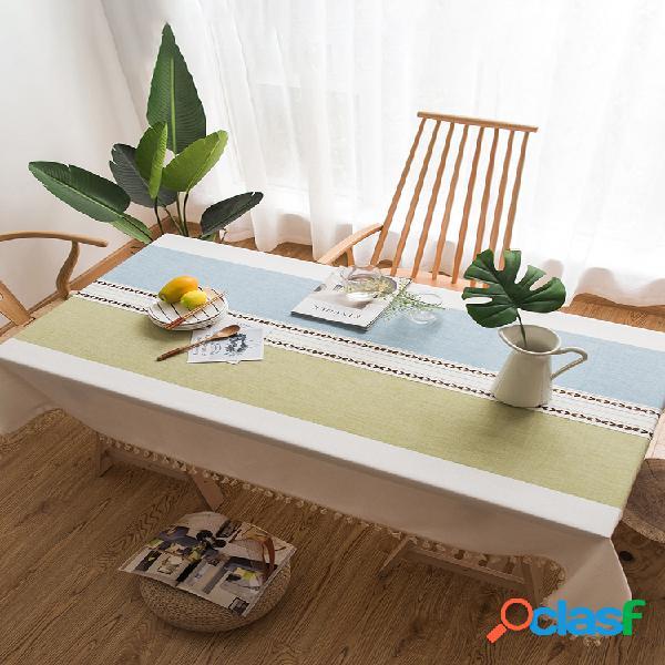 Toalha de mesa com borla de costura tecido de linho de algodão capa de mesa à prova de poeira para decoração de mesa de jantar de cozinha