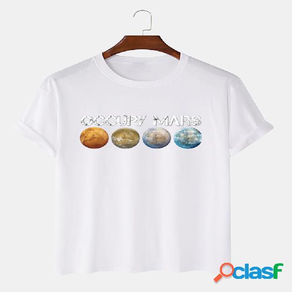 Mens 100% algodão planeta impresso em torno do pescoço casual manga curta camisetas