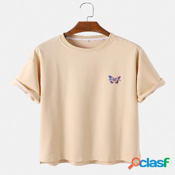 Mens borboleta impressa algodão respirável em torno do pescoço casual manga curta camisetas