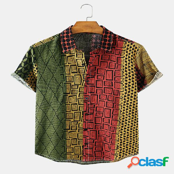 Mens geometric étnico impresso algodão respirável manga curta camisa