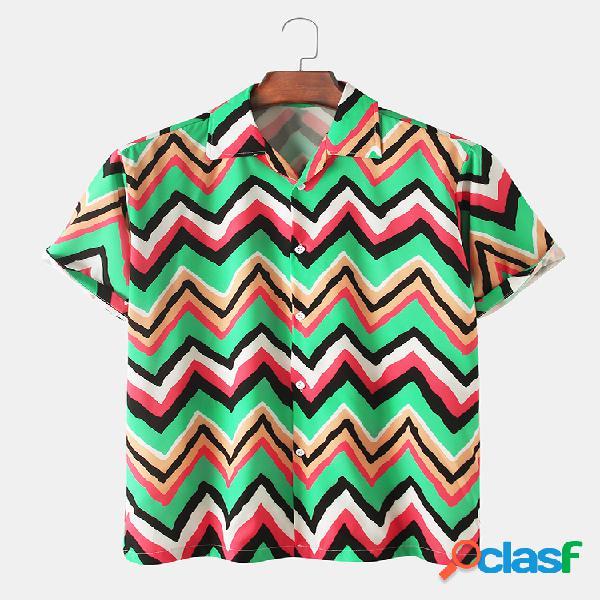 Mens stripes irregular printed light casual revere collar camisas de manga curta