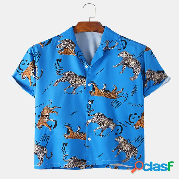 Mens tigre impressão respirável manga curta camisa