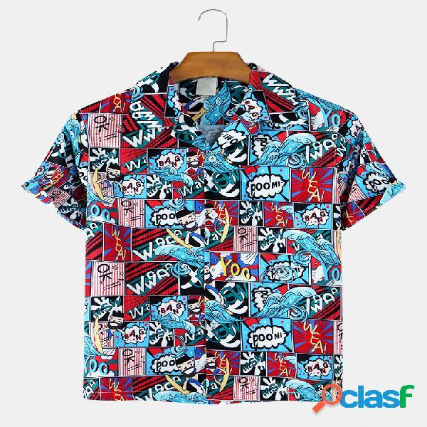 Mens engraçado impresso algodão respirável revere collar casual camisas de manga curta