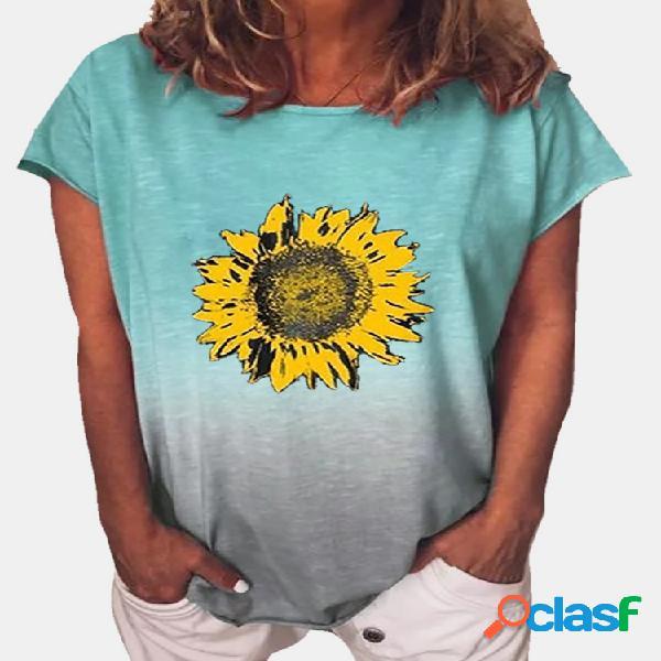 T-shirt de manga curta com estampa floral e ombro a ombro