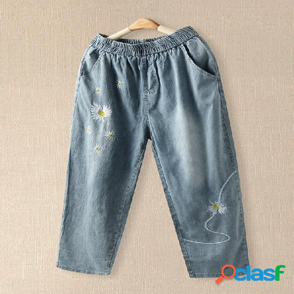 Bordado floral daisy com cintura elástica harem jeans com bolso