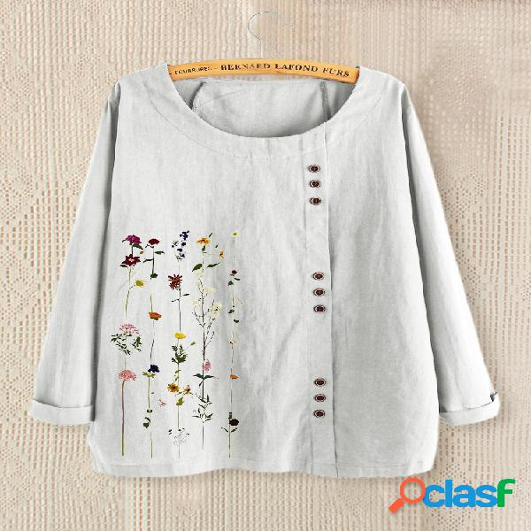 Blusa feminina de manga comprida com estampa floral com decote em o