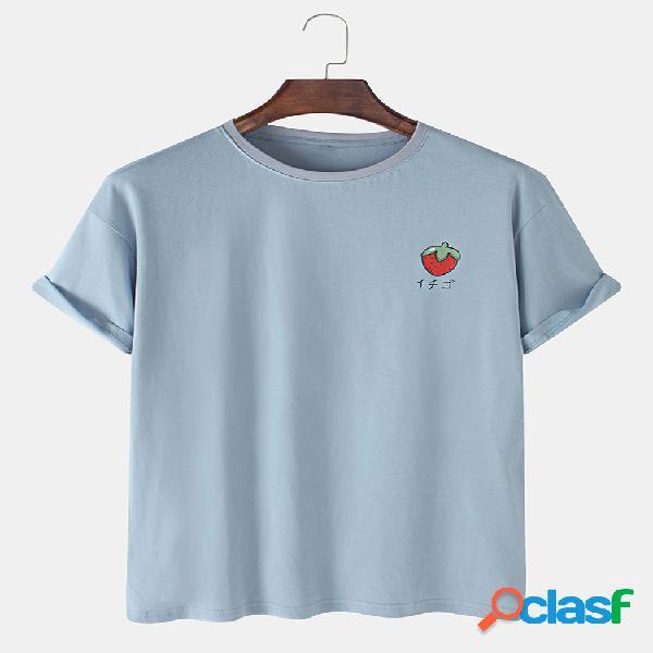 Mens 100% algodão morango impresso em torno do pescoço casual manga curta camisetas
