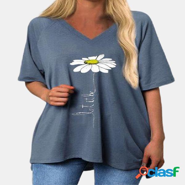 Daisy floral impresso manga curta com decote em v t-shirt longo