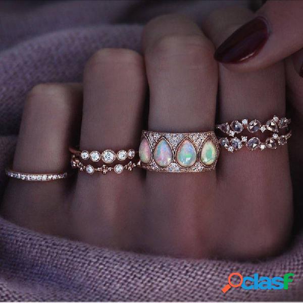 Anéis de gota de água de strass geométricos do vintage definidos anéis de embutimento de strass irregulares de metal