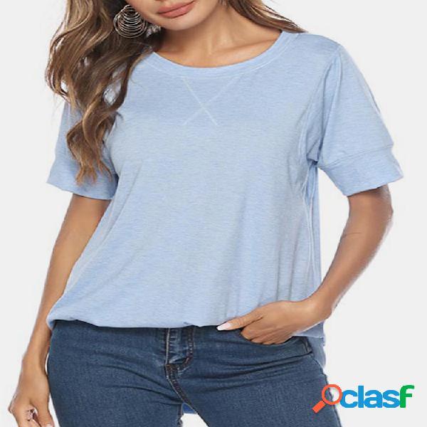 Cor sólida hem irregular manga curta o-pescoço casual t-shirt