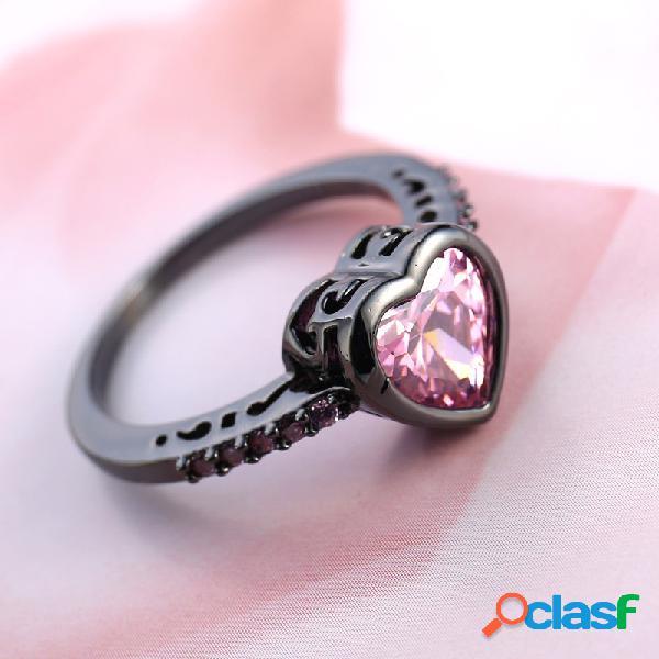 Pêssego geométrico vintage coração anéis de zircão metal oco rosa anéis impressos com pedras preciosas