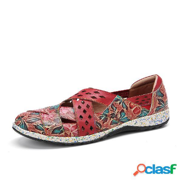 Socofy retro fivela fancy flowers emenda couro genuíno costura zíper deslizamento em sapatos planos