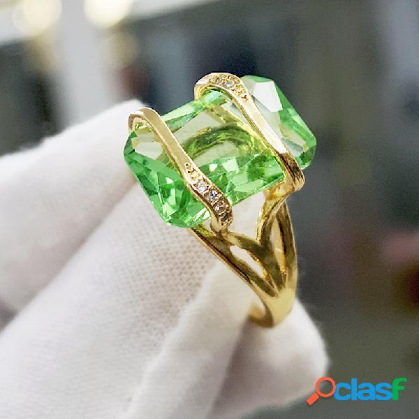 Vintage banhado a ouro 18k quadrado geométrico anel de zircão strass de metal transparente esmeralda anéis de dedo