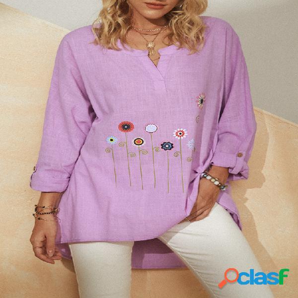 Blusa assimétrica manga comprida bordada com colarinho